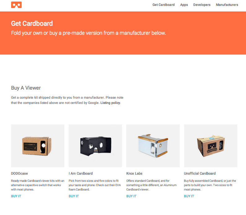 The new Google Cardboard page