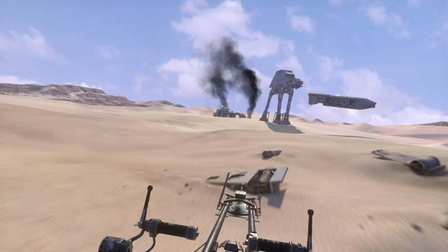 A screenshot from ILMxLab's announcement video showing a speeder bike racing experience on the Oculus DK2.