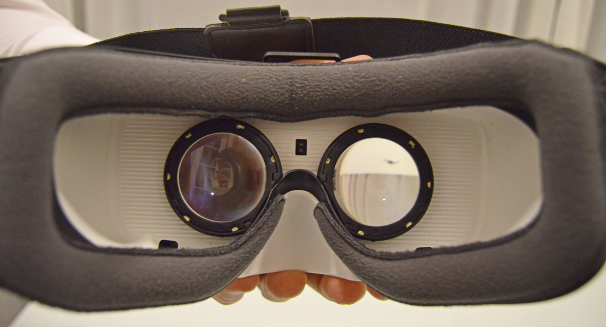 A gear VR fitted with SMI tracking technology.