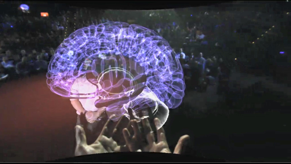 An augmented reality brain brought to life by the Meta2