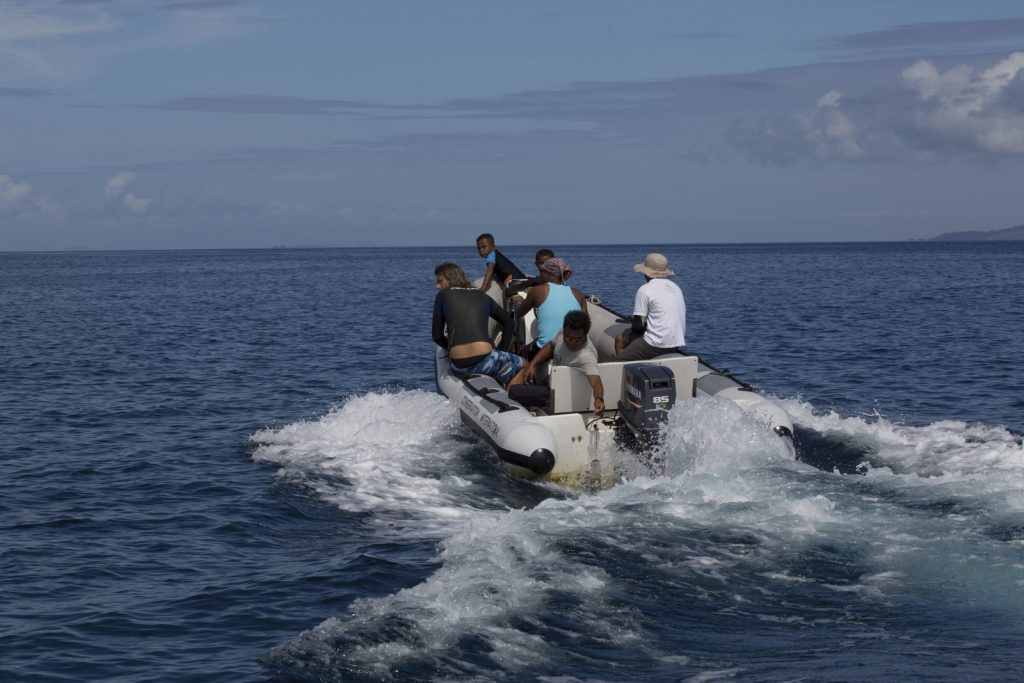 The film crew, Ronald and Valen venture out to film the beautiful reefs of the Bird's Head Peninsula.