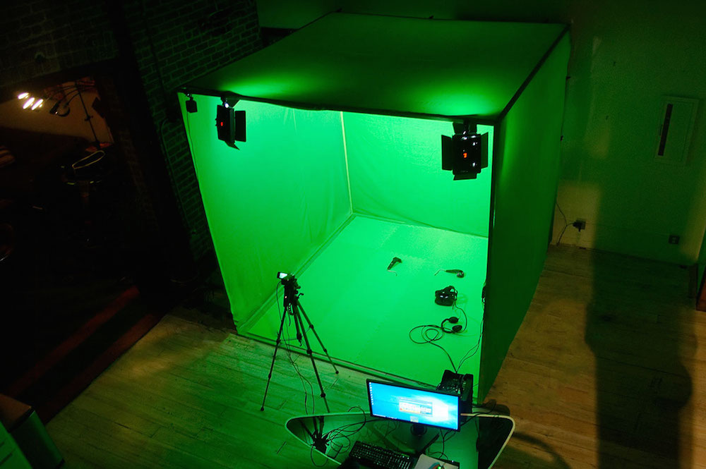 The LIV Cube MR green screen fully deployed