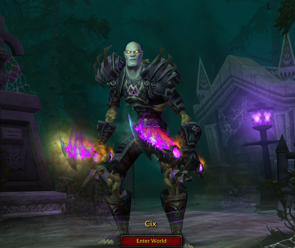 Cix the Rogue on the World of Warcraft start screen