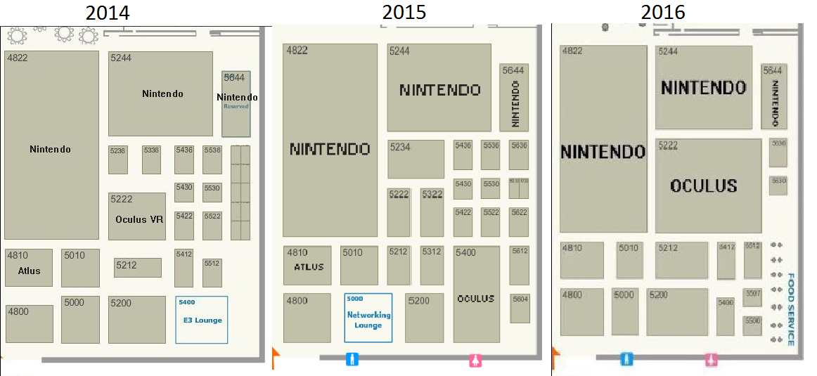 Floor plan showing the growth of Oculus' booth since 2014. Via Reddit.