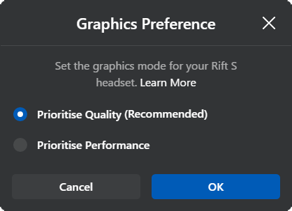 oculus rift s graphics preference