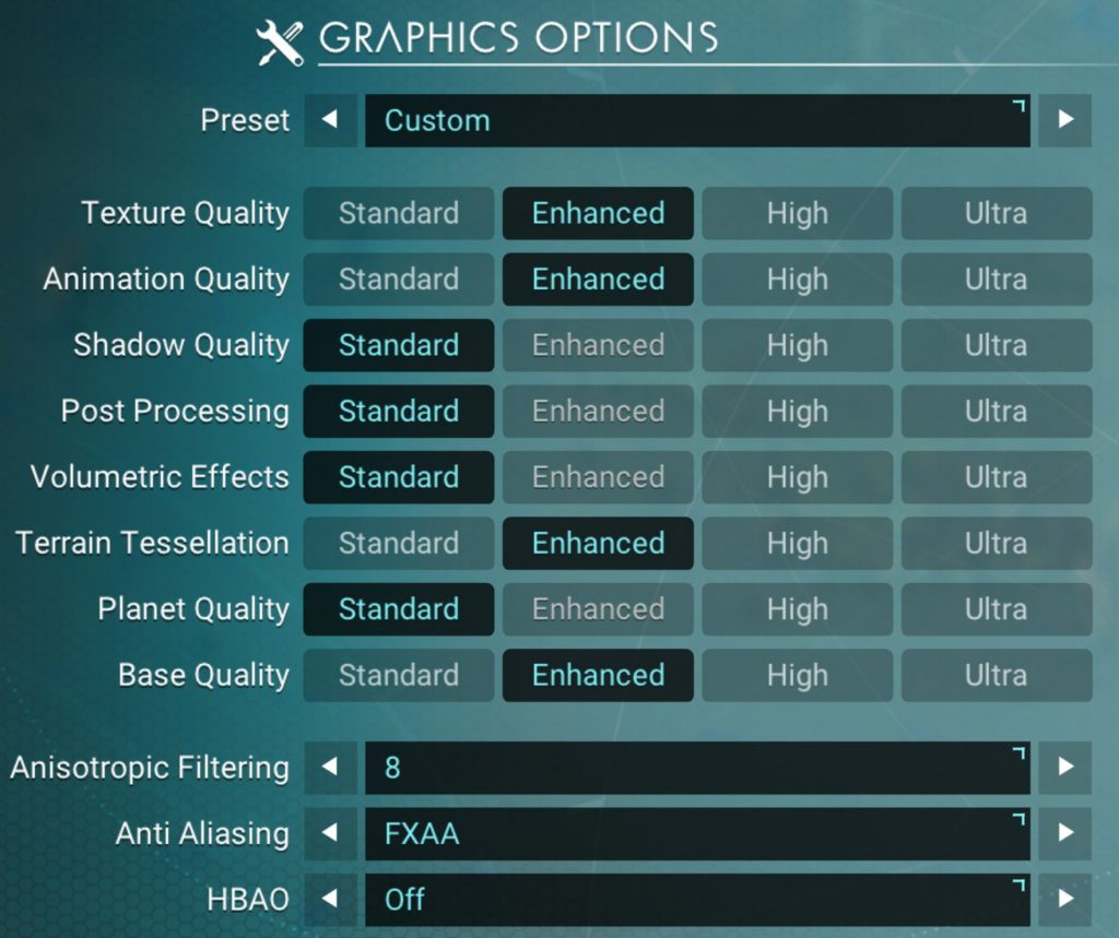 No Man's Sky VR Graphics Settings
