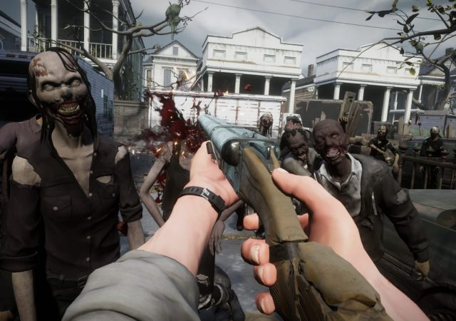 the walking dead vr saints and sinners outside zombie crowd