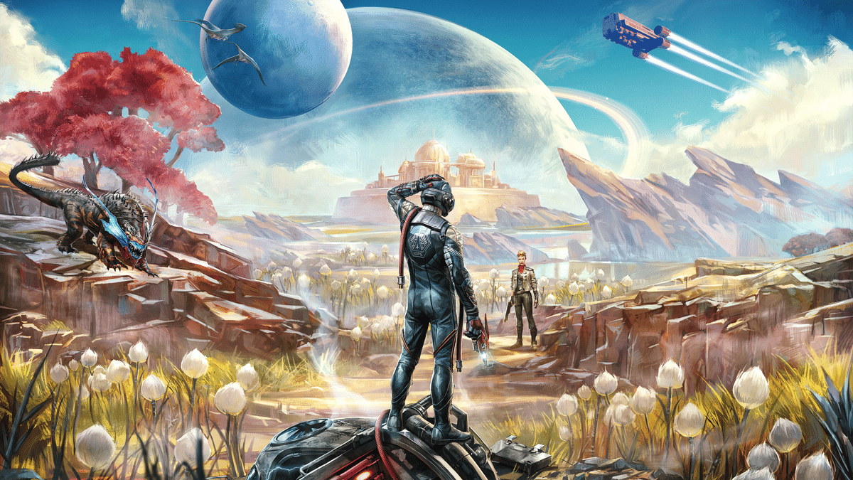 the outer worlds title image graphic