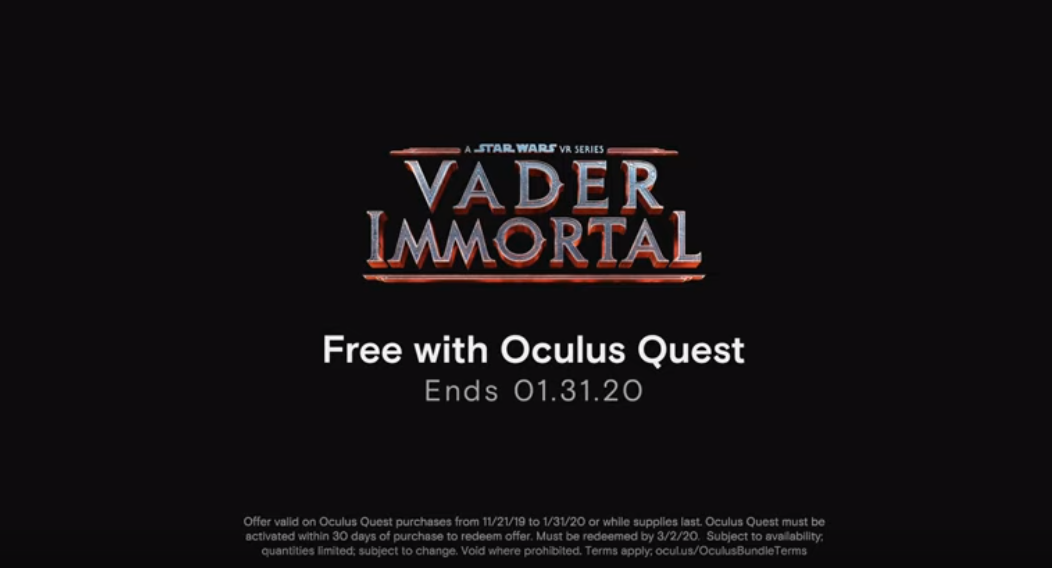Oculus Quest Comes Bundled With Vader Immortal Through January 2