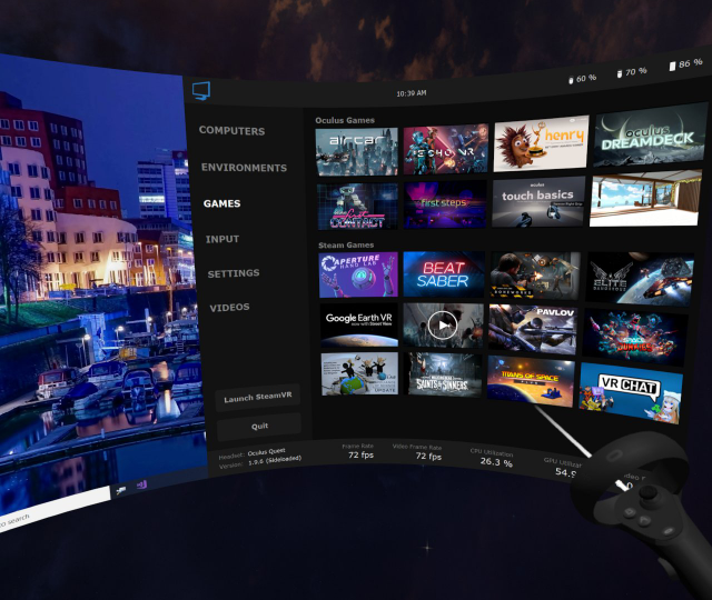 Virtual Desktop VR Streaming Tab Oculus Quest