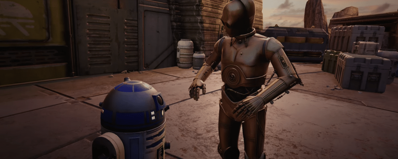 c3p0 r2d2 star wars tales from the galaxys edge vr