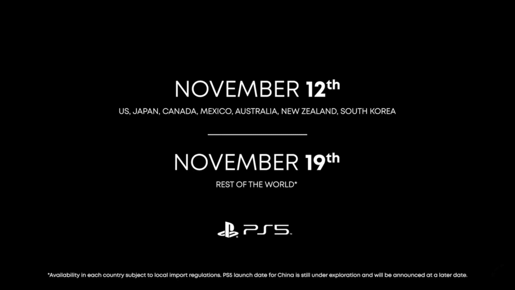ps5 launch release dates