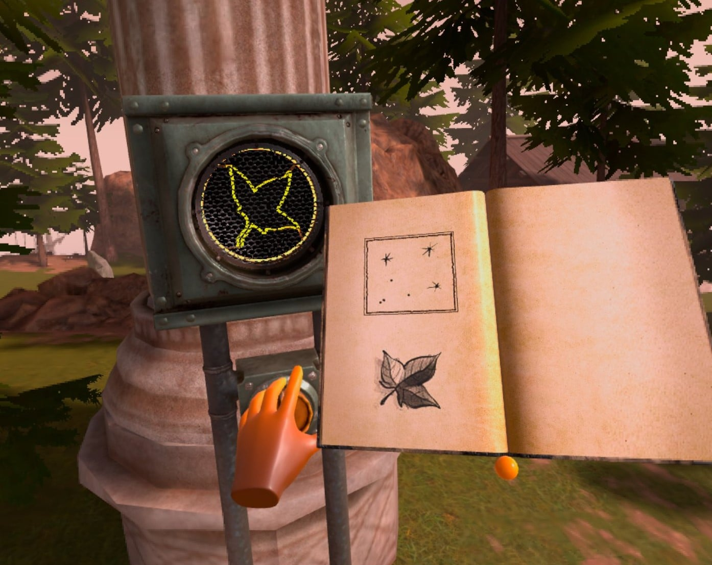 myst holding a book and turning a dial