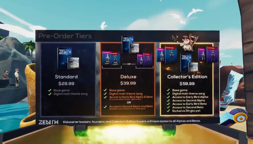 zenith vr mmo pre-order tiers